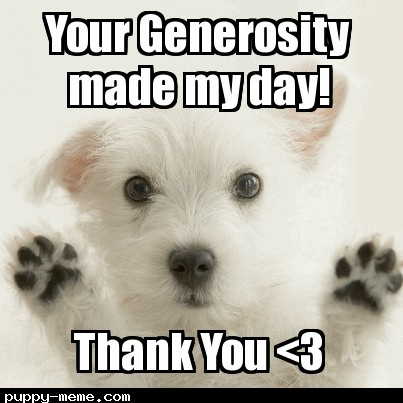 cute puppy picture thank you meme