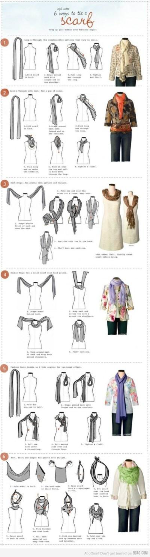 6 ways to tie a scarf printable