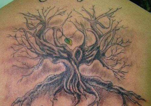 Single leaf tree of life tattoo