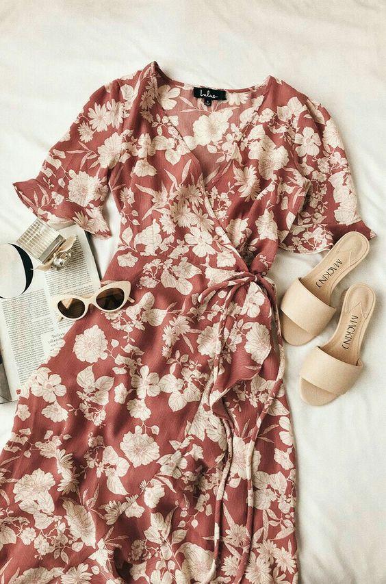Floral Print High-Low Wrap Dress