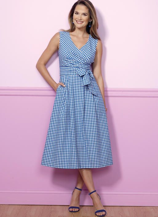 Pleated Check Patterns Wrap Dresses