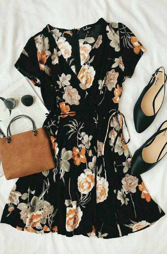 Picturesque Love Black Floral Print Wrap Dress