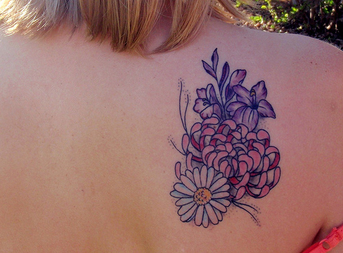 Beautiful Tattoo Of August, September And November Birth Month's Flowers