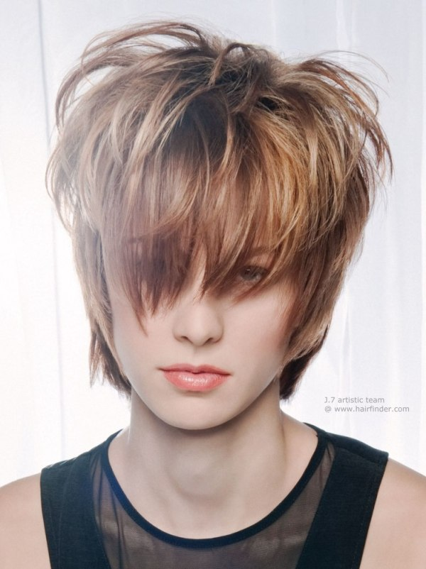 Short Stacked Pixie hairstyles with highlights