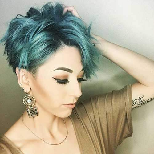 Turquoise Pixie Haircut