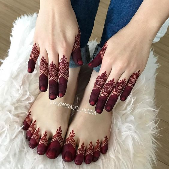 red mehndi design patterns on hands and feet fingers for eid