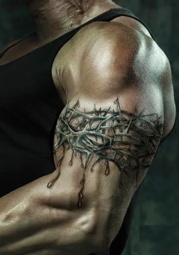barbed wire bicep tattoo design for men