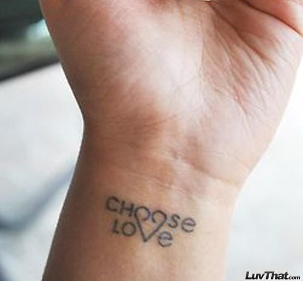 choose love tattoo on wrist