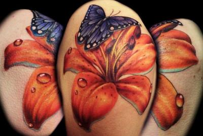 tiger lily flower tattoo with butterfly