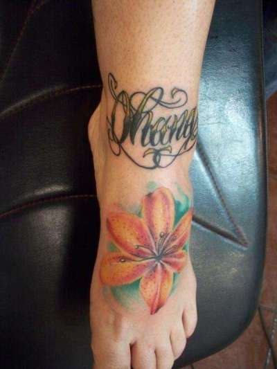 tiger lily tattoo design on foot