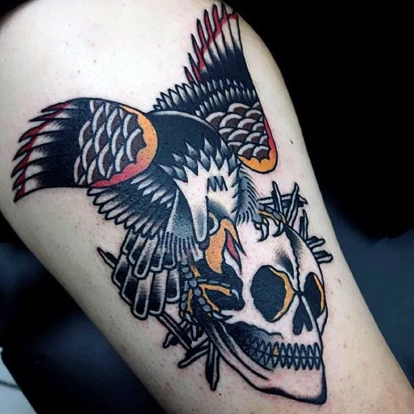 traditional skull eagle tattoo