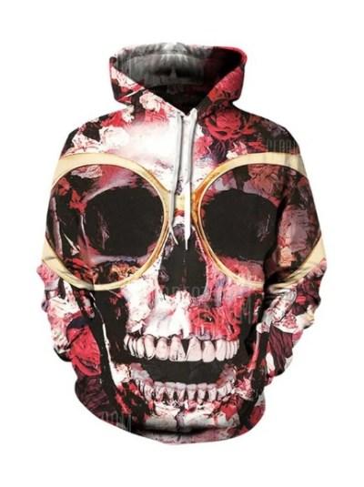 horror skeleton print graphic hoodie for halloween