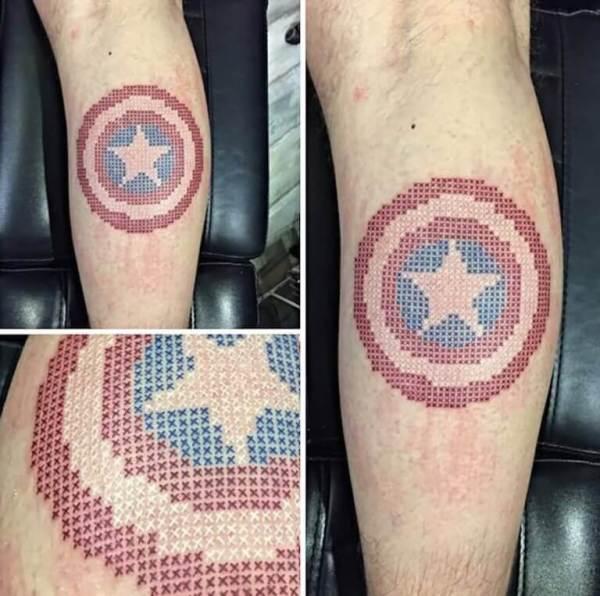 captain america pixel art shield tattoo