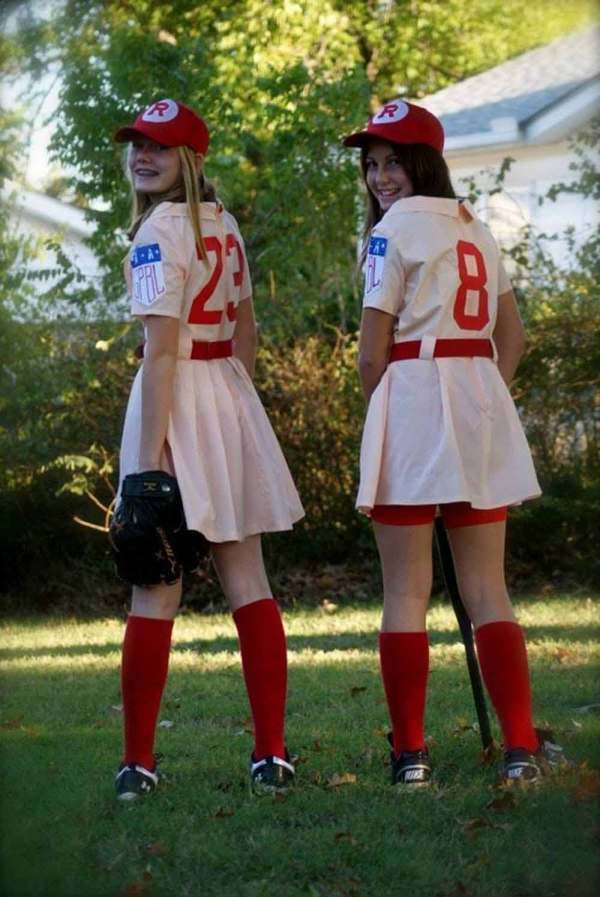 two girls rockford peaches baseball player costume ideas for halloween