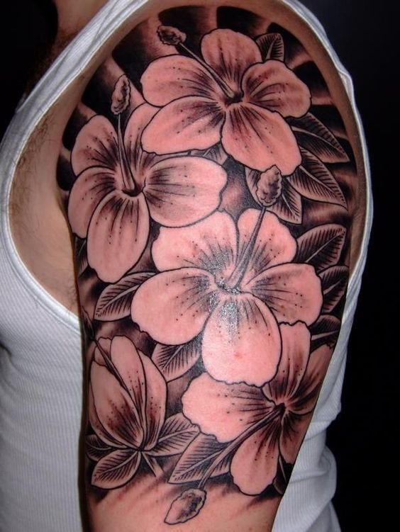 black and white hibiscus flowers tattoo for half sleeve men
