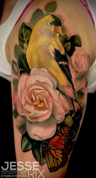 goldfinch with pink rose flower and butterfly tattoo on quarter sleeve for women