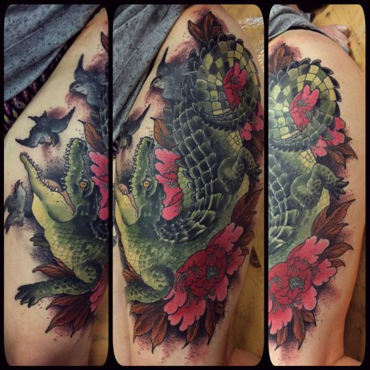painted art crocodile tattoo design
