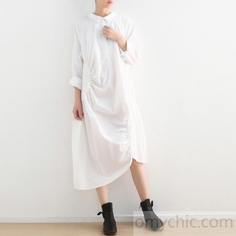 asymmetric white cotton dress