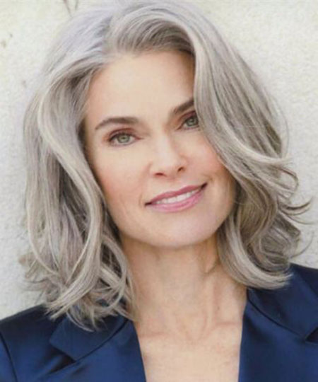 older women layered hairstyle for medium length hair