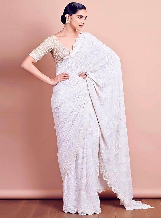 Deepika Padukone in White Saree