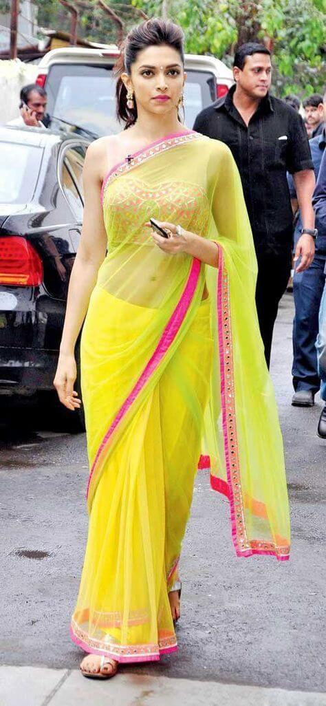 Deepika Padukone in Yellow Saree