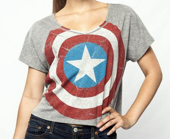 vintage style captain american shield t-shirt ideas for women