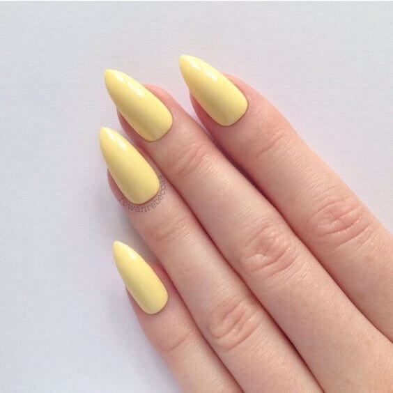yellow acrylic nails for pale skin tone