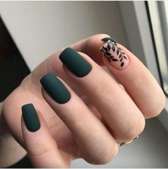 dark green short acrylic nail designs