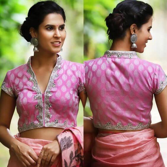 ladies collar blouse design with saree