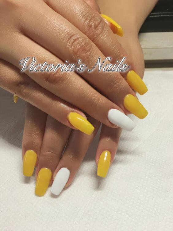 yellow nails with white