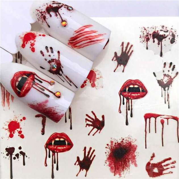 bloody vampire nail decals