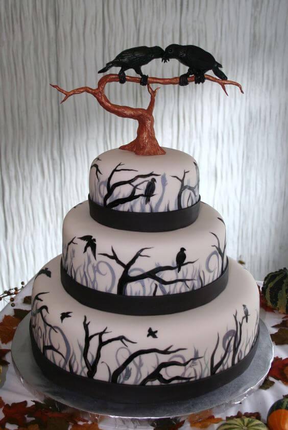 black raven wedding cake for halloween