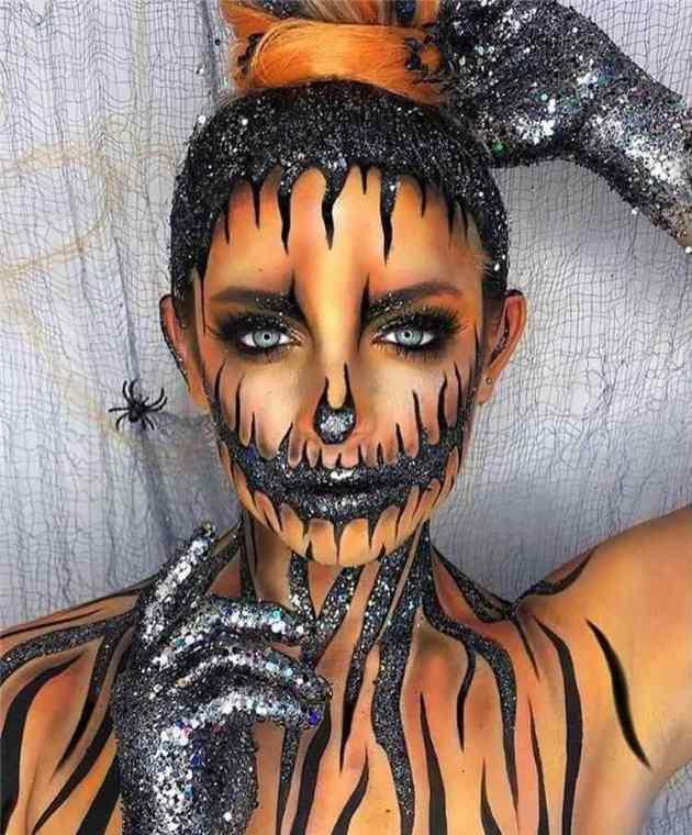 glitter pumpkin women body art