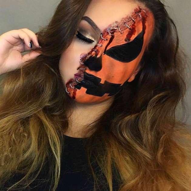 halloween makeup wounded pumpkin looks