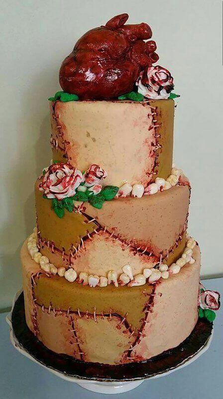 human heart halloween wedding cake