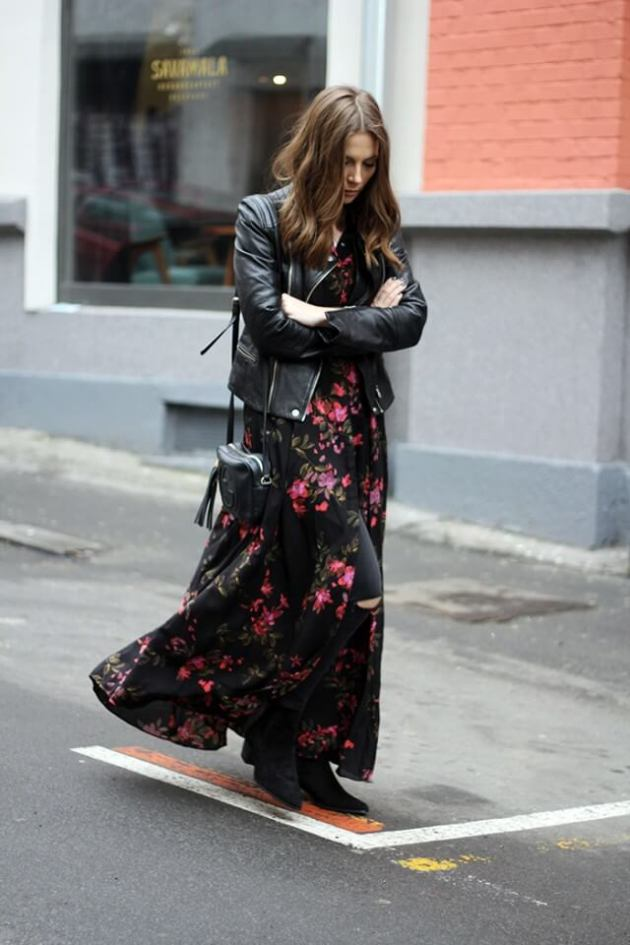 long floral maxi dress with jeans outfit ideas for fall