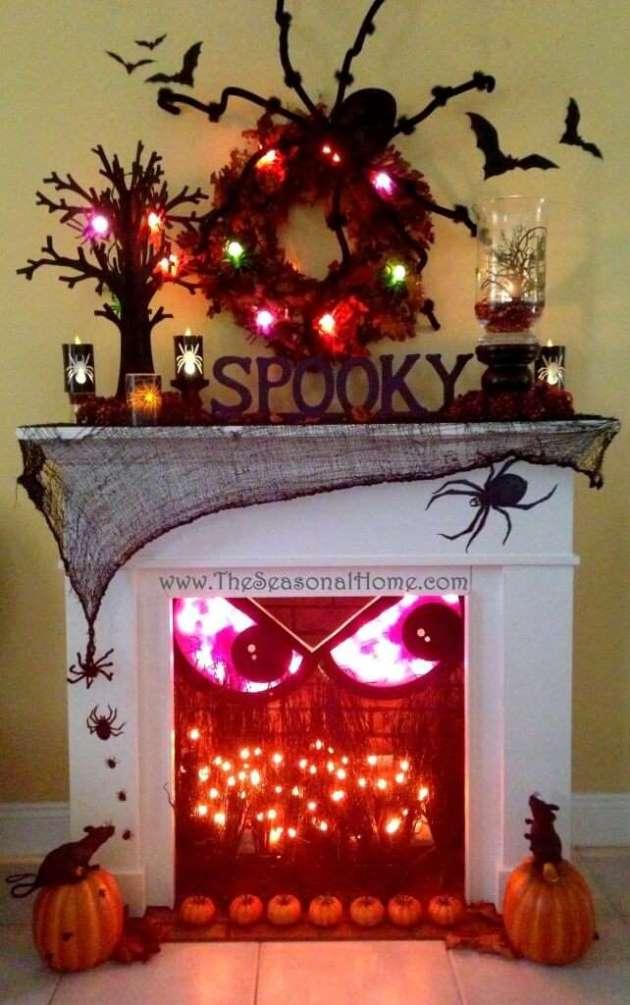spooky halloween fireplace decor ideas