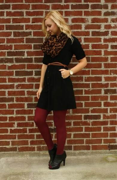 black dress with burgundy tights christmas chruch outfit ideas for girls