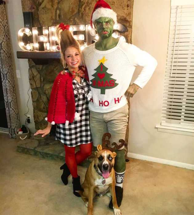 funny santa grinch and cindy lou who christmas costume ideas for couples