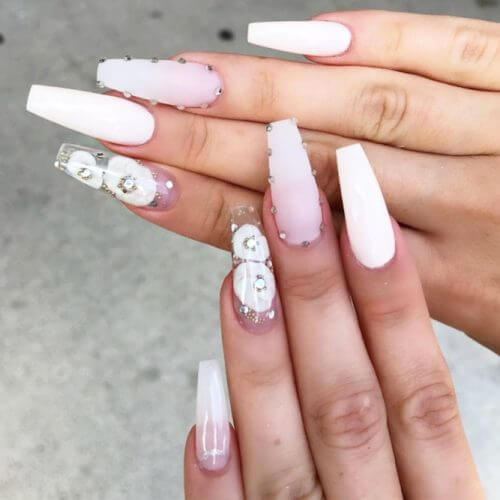 long white ombre coffin nude nails with flowers