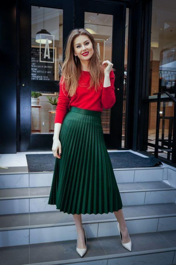 red and green women christmas outfit ideas for chruch