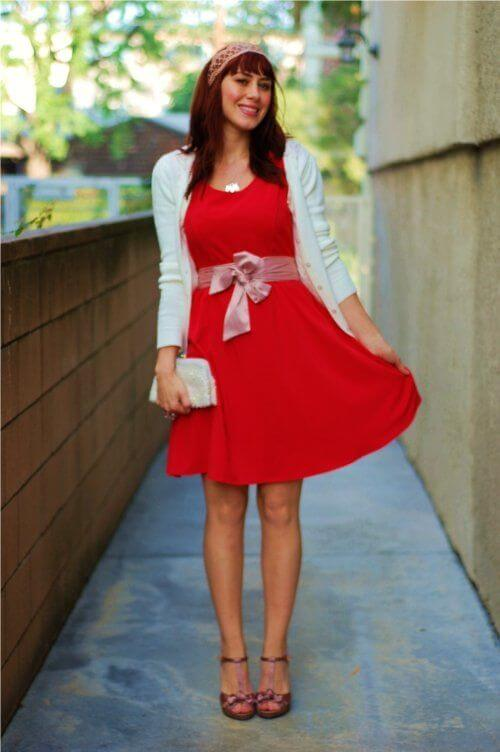 red dress with white sweater christmas church outfit ideas