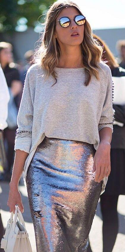 sequin skirt girls outfit ideas for christmas holidays