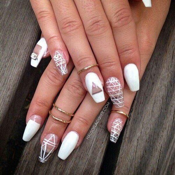 transparent white coffin nail designs