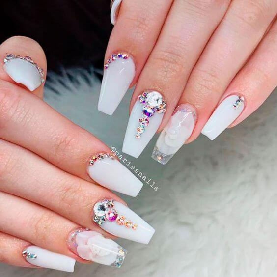 white coffin nails with rhinestones