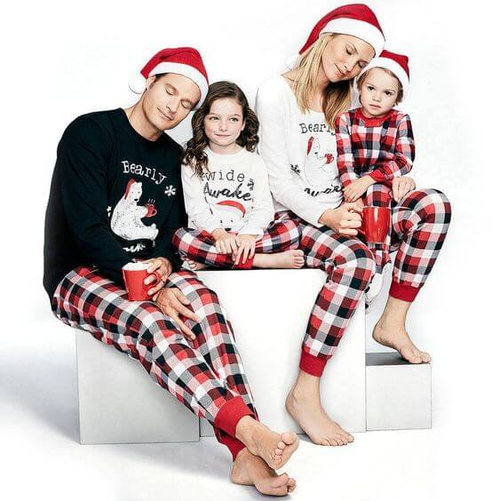 family matching plaid christmas pajamas