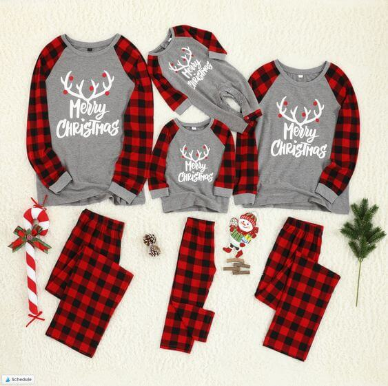 family matching plaid merry christmas pajama outfits
