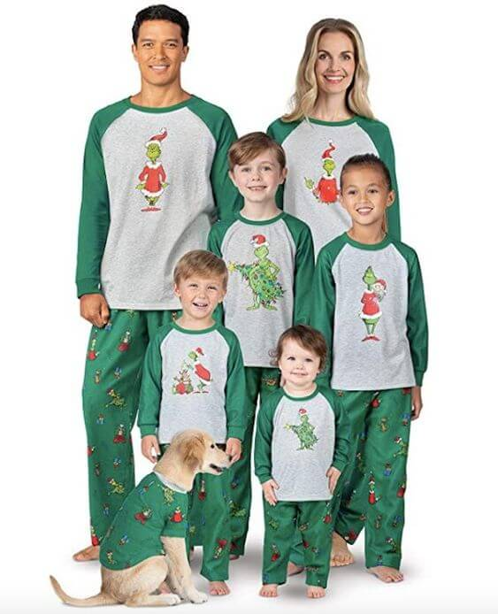 matching family christmas grinch pajamas outfits