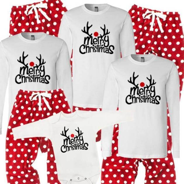 merry christmas reindeer family pajamas outfits