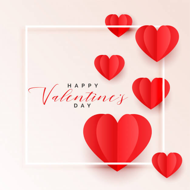 download free happy valentines day paper hearts greeting card image